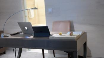 Silver Macbook on Gray Table