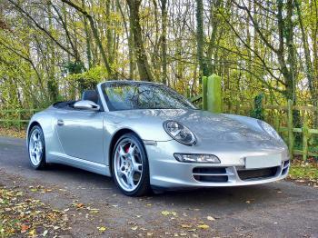 Silver Porsche 911 Convertible