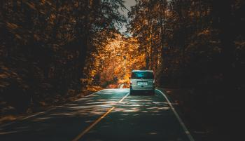 Silver Van Traveling on Highway Lined With Trees during Daytime