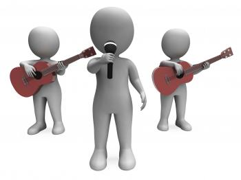 Singer And Guitar Players Shows Band Concert Or Performing