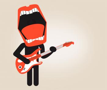 Singer playing electric guitar - Stylized looks