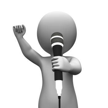 Singer Singing Character Shows Music Or Karaoke Concert