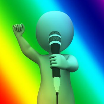 Singing Character Shows Music Songs Or Perform