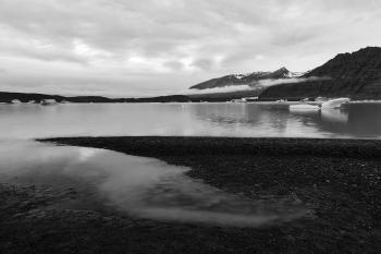 Skaftafell Glacier Lake - Black & White