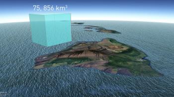 Sketch showing the total volume of sea level rise 1880-2009 compared to the volume of Hawaii