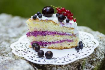 Slice of fresh berry cake