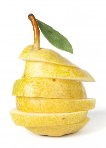 sliced fresh juicy pear