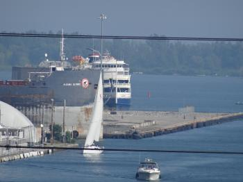 Small Cruise ship moored at Toronto's International Marine Passenger Terminal, 2015 08 19
