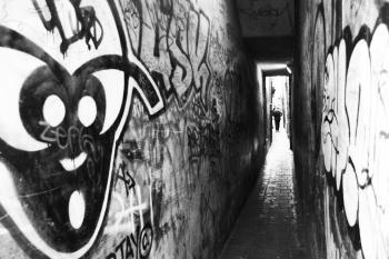Small graffiti passage way