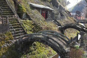 Small stone bridges in Omori town by Iwami silver mine