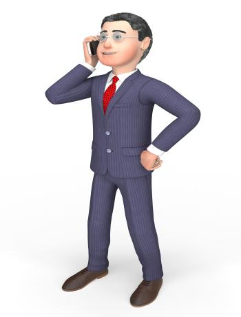 Smartphone Businessman Means Call Now And Calling 3d Rendering
