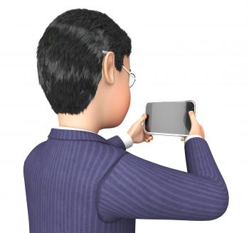 Smartphone Character Represents Business Person And Businessman 3d Ren