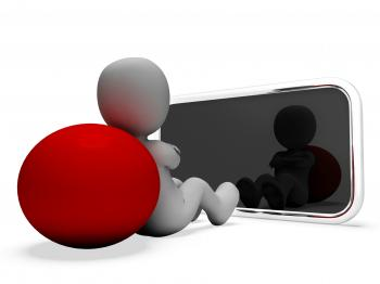 Smartphone Online Means World Wide Web And Illustration 3d Rendering