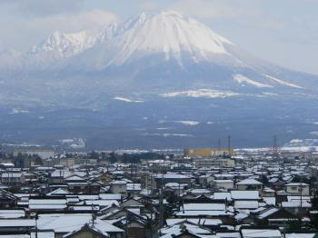 Snow capped mount Daisen with Yonago in foreground