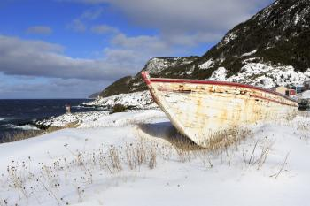 Snow covered fishing boats