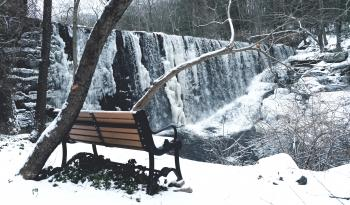 Snow Covered With Brown and Black Steel Couch