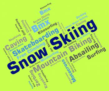 Snow Skiing Indicates Winter Sport And Skis