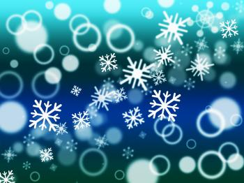 Snowflake Bokeh Means Merry Christmas And Blurred