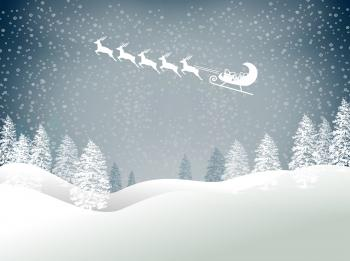 Snowy Christmas landscape with Santas sled and reindeer