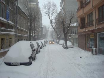 Snowy city streets
