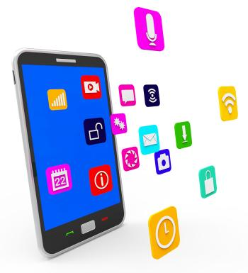 Social Media Phone Indicates News Feed And Blogging