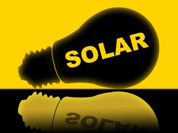 Solar Power Represents Energy Source And Electricity