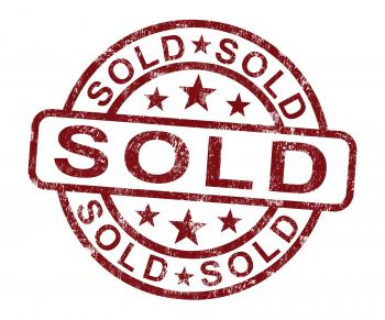 Sold Stamp Shows Selling Or Purchasing
