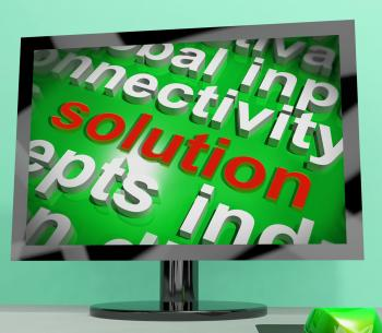 Solution Word Screen Cloud Shows Achievement Resolution Solving And So