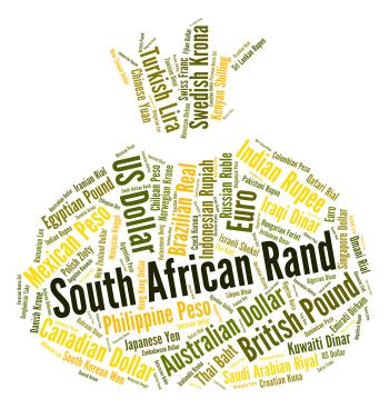 South African Rand Indicates Exchange Rate And Coinage