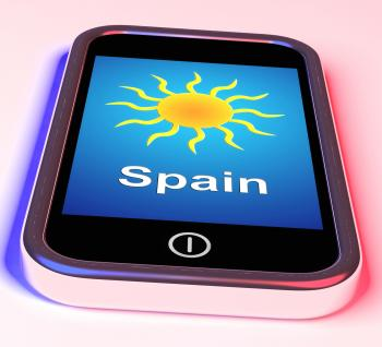 Spain On Phone Means Holidays And Sunny Weather