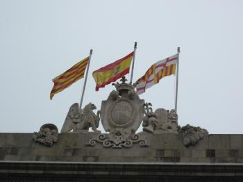 Spanish and Catalan flags