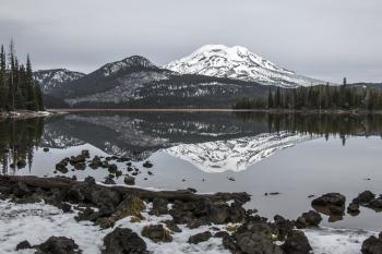 Sparks Lake, Oregon with Mt. Bachelor reflection