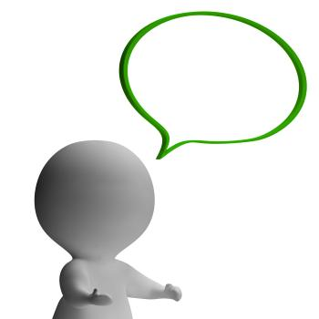 Speech Bubble And 3d Character Showing Speaking Or Announcement