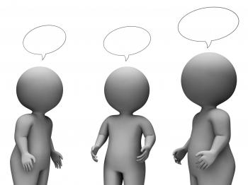 Speech Bubble Shows Render Chatting And Speaking 3d Rendering