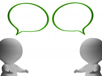Speech Bubbles And 3d Characters Showing Discussion And Gossip