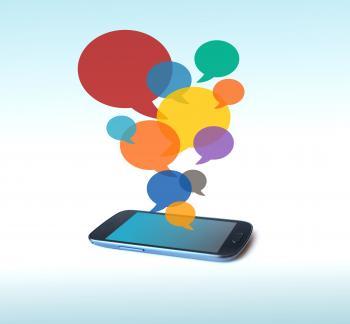 Speech bubbles over smartphone