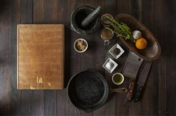 Spices on vintage table