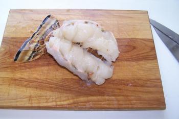 Split Lobster on Cutting Board