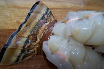 Split Lobster Tail on Cutting Board
