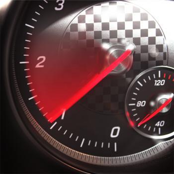 Sports Car RPM Gauge - Tachometer Speeding Up