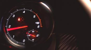 Sports Car Tachometer Speeding - With Copyspace