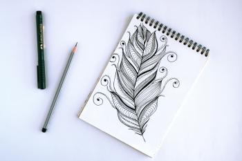 Spring Book With Feather Sketch
