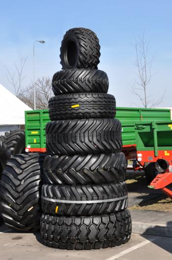 Stack of tractor tyres