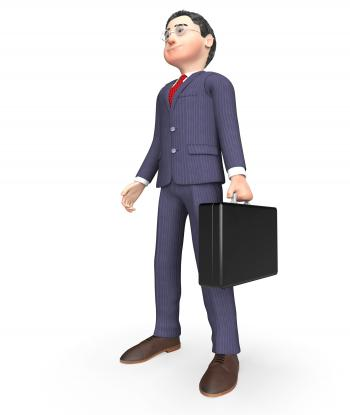 Standing Character Shows Business Person And Stands 3d Rendering