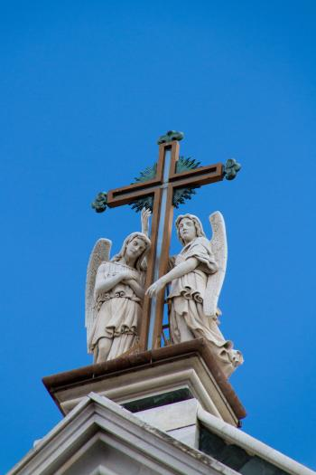 Statues on top of Church