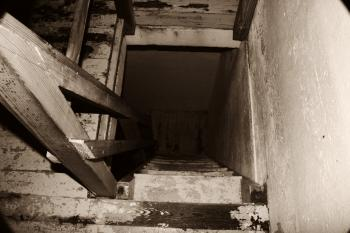 Steep wooden steps