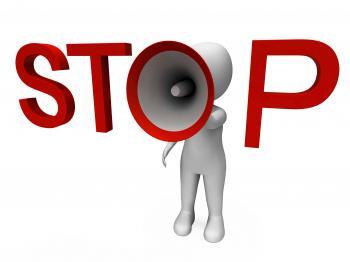 Stop Hailer Shows Halt Warning Refuse And Warn