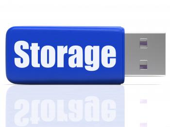 Storage Pen drive Shows Data Backup Or Warehousing