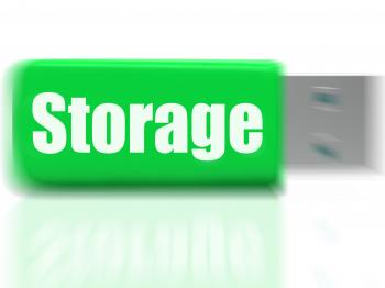 Storage USB drive Shows Data Backup Or Warehousing
