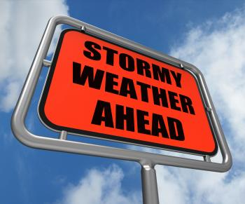 Stormy Weather Ahead Sign Shows Storm Warning or Danger